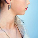 contemporary silver necklace and earring, Helen Swan, fine handmade jewellery Glasgow