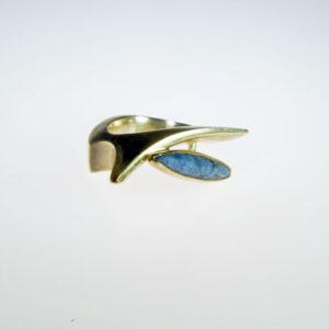 Stone set cast silver designer ring by Scottish jewellery designer Helen Swan whose studio is in Glasgow uk