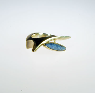 Stone set cast silver designer ring by scottish jewellery designer Helen Swan whose studio is in Glasgow UK