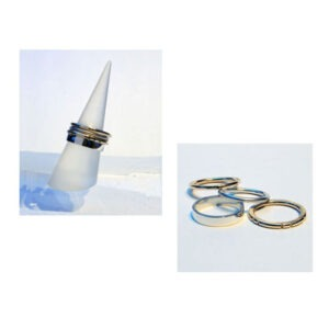 Designer Silver and Gold Ring-stack by Scottish Jewellery Designer Helen Swan whose studio is is Glasgow Scotland