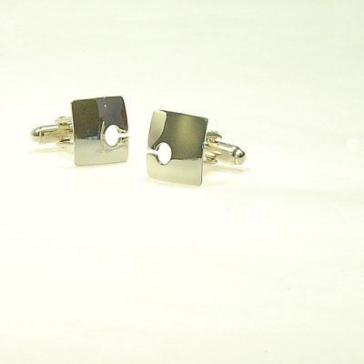 Contemporary square-silver-cufflinks
