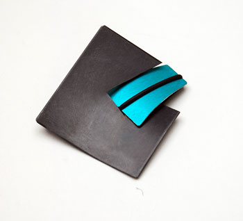 Contemporary Mixed Material Dedsigner Brooch with Anodised Aluminium