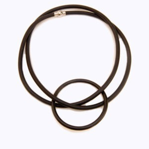 contemporary, designer necklace in rubber and steel