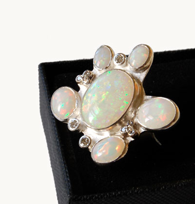 contemporary opal and diamond ring