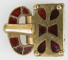 Gold Buckle with Garnets Date: 400–500 Geography: Made in, Constantinople (probably)