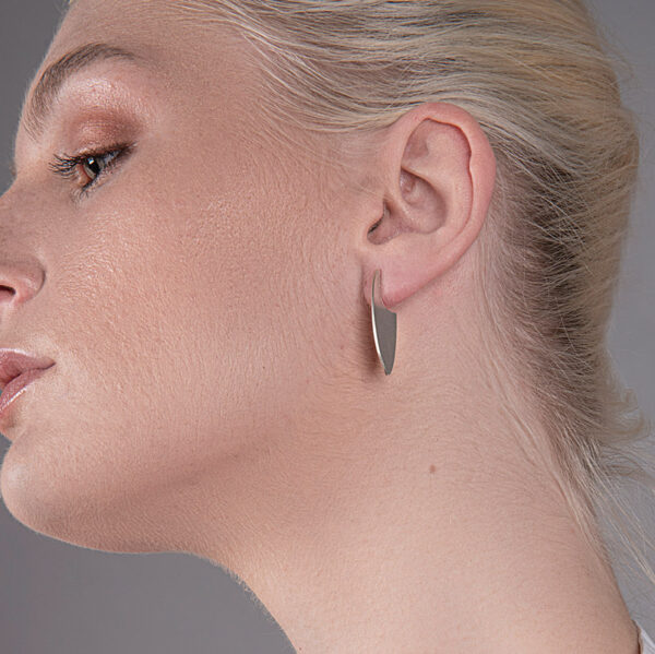 Marquis shaped flat earrings that sit edge onto your ear