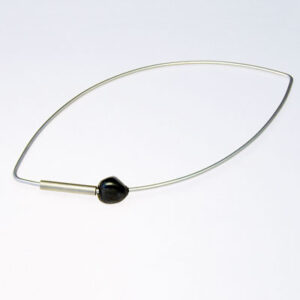 designer silver bangle with oxidised silver bead