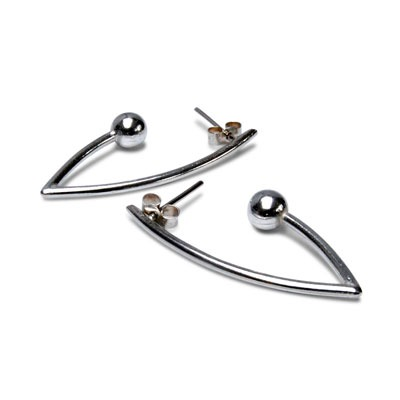 Flow Silver Ball Earrings feature polished balls suspended from polished metal drop earrings