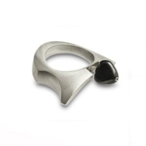 Onyx Cocktail Ring with an oxidised bead, is designed and shaped to be worn primarily on the fore finger of the right hand but can easily fit any other finger of choice.