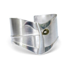 chunky silver cuff with gold detail