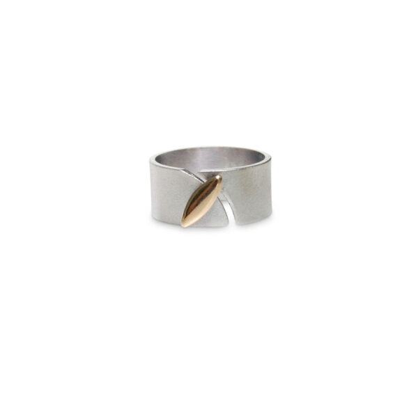Silver ring with Marquis shaped gold detail