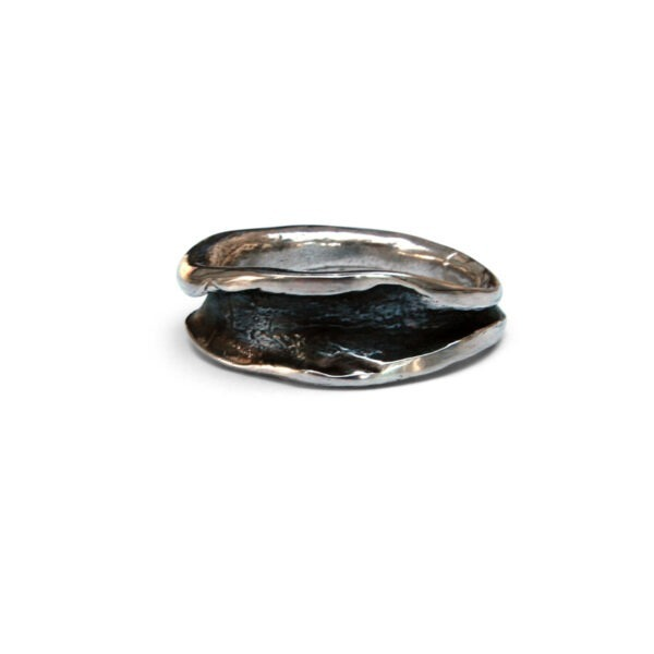 Oxidised cast ring. This ring was designed to be worn on the index finger but looks good on any finger.