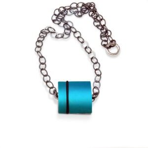 Dual Jewel, Interchangeable Necklace.T his Anodised Aluminium necklace with an oxidised loose linked chain can be reversed and added to. The coloured aluminium section can be changed to other options. Please contact me if you wish to know more.
