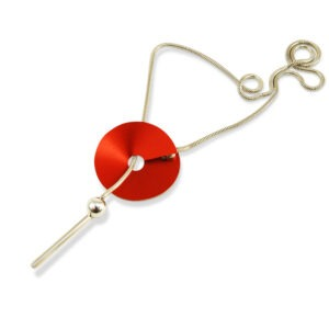 Viola Disc and Ball Pendant Necklace features a bar and ball suspended on a chain which is looped within a aluminium disc which is anodised to a specified colour and is shown pictured on a white background