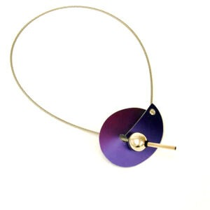 This designer necklace has a front fastening with becomes a design feature when worn. To open the necklace gently ease your finger into the opening and pop the small bead out of the hole. To close the Designer Necklace slip the small bead back into the opening and let it click into place under the hole. Ease the gap slightly, taking care not to stretch the opening, if necessary to allow the bead access.