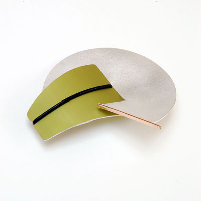 Large Interchangeable-Contemporary Silver and Gold brooch with Anodised Aluminium £185 (2), Helen Swan, fine handmade jewellery Glasgow
