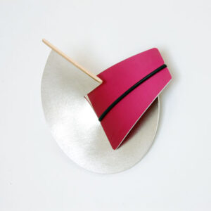 Large Interchangeable-Contemporary Silver and Gold brooch with Anodised Aluminium £185, Helen Swan, fine handmade jewellery Glasgow