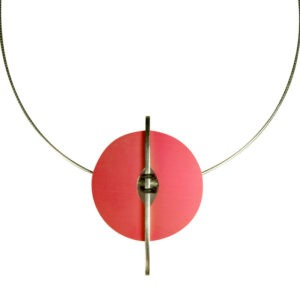 A uniquely designed necklace in anodised aluminium. This designer necklace has a cleverly engineered design, it allows the owner to change the colour of the anodised aluminium section, giving this piece great versatility. The design can change with the seasons and take you from daywear to evening. This can be produced in different colours and replacement coloured discs can be bought separately. Please contact me for other colour options and price It is 5cm long. and the chain is 45cm with an easy to use magnetic catch. This designer necklace will make a bold statement when worn as does all of Helen's designer jeweller uk