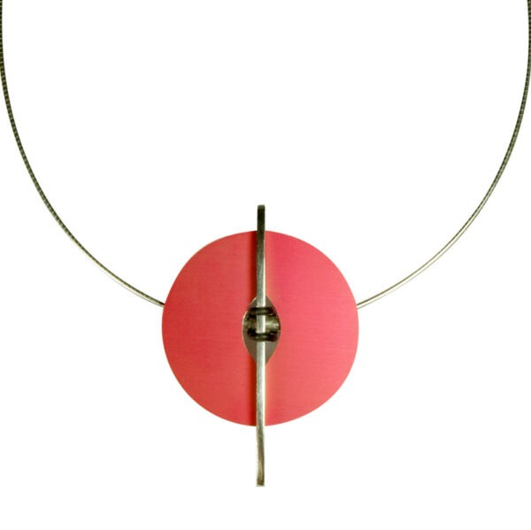 Viola Geometric Circle Pendant Necklace on a white background this uniquely designed necklace in anodised aluminium. This designer necklace has a cleverly engineered design, it allows the owner to change the colour of the anodised aluminium section, giving this piece great versatility. The design can change with the seasons and take you from daywear to evening. This can be produced in different colours and replacement coloured discs can be bought separately. Please contact me for other colour options and price It is 5cm long. and the chain is 45cm with an easy to use magnetic catch. This designer necklace will make a bold statement when worn as does all of Helen's designer jeweller uk