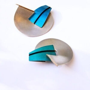 interchangeable-Contemporary Silver and Gold brooches with Anodised Aluminium £128, Helen Swan, fine handmade jewellery Glasgow