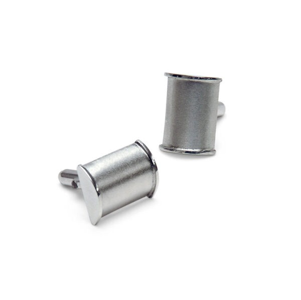 Contemporary  cufflinks. Textured and polished barrel shaped cufflinks with revolving cufflink attachment.