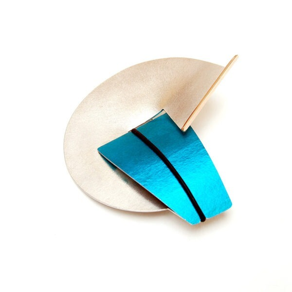 Contemporary Brooch. Interchangeable Contemporary, mixed metal brooch with anodised aluminium, available in colours  of your choice