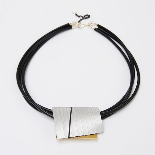 Viola Brass Pendant Necklace featured on a white background