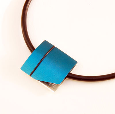 Anodised Aluminium Designer Necklace by Scottish jewellery Designer Helen Swan, Glasgow UK