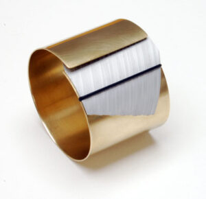 Brass-and-Aluminium Designer-Bangle by Scottish jewellery designer Helen Swan whose studio can be found in Glasgow, Scotland, UK