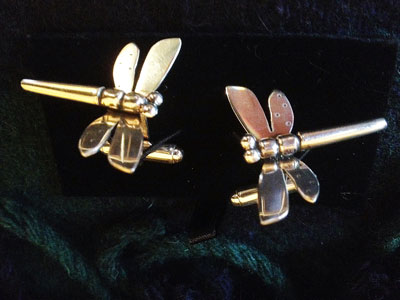 Dragonfly Cufflinks for menn or Women by Scottish Jewellery Designer Helen Swan whose studio is in Glasgow Scotland Uk