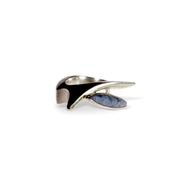 Stone set cast silver designer ring with long marquis shaped stone. This beautiful cast ring can be made with alternative stones however the design would be similar but not identical.