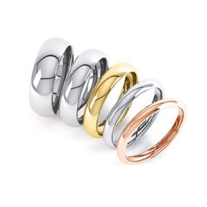 A selection on 9ct and 18ct Yellow and White and Rose Gold Wedding Rings.
