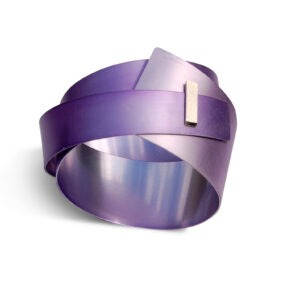 large, lilac aluminium bangle with rectangular silver detail at the front