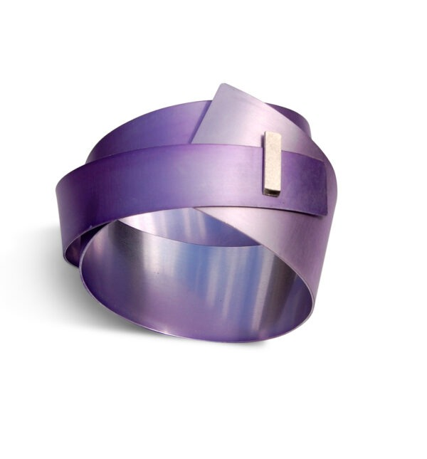 large, lilac aluminium Bar bangle with rectangular silver detail at the front