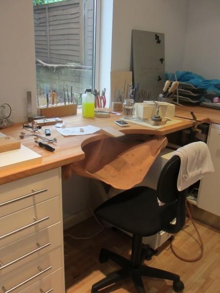 New workbench Helen Swan Designer Jewellery