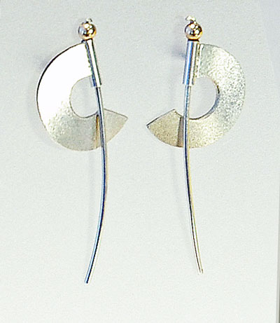 Helen Swan Designer Earrings in Silver and gold