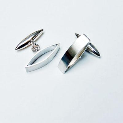 Mens designer silver cufflinks by Glasgow jewellery designer Helen Swan