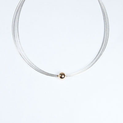 Silver strand cable Necklace with 9ct gold ball