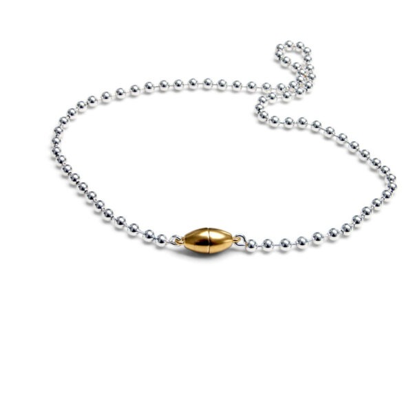 Magnetic Necklace. Ball chain necklace with a 18ct gold plated oval magnetic catch
