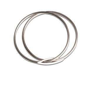 Designer Contemporary Bangle by Scottish Jewellery Designer Helen Swan Make a statement with this designer  bangle comprising of  two round 3mm diam. wire bangles  joined by decorative marquis shaped feature.