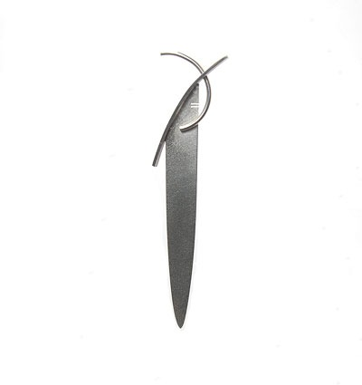 Contemporary Sculptural kilt pin by Helen Swan Designer Jewellery. Hand made in Glasgow Scotland. Contemporary Jewellery a speciality.