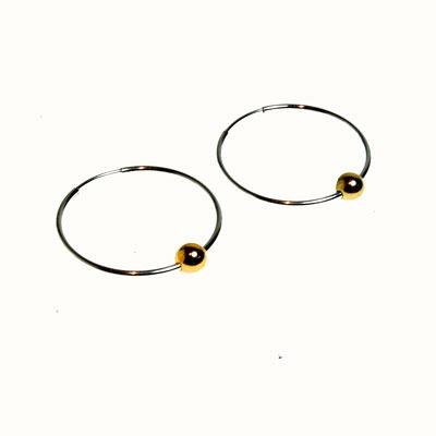 Silver and gold loop earrings