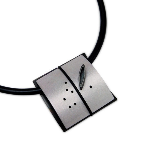 Anodised Aluminium Necklace in rubber has a 45mm sq. anodised aluminium coloured section Helen hand dyes the Aluminium, please just state your colour preference when ordering.