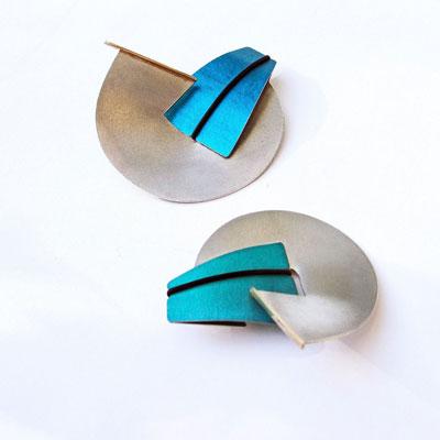 Aluminium, Silver and Gold Designer Brooch