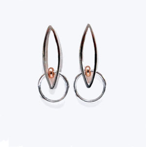 Contemporary designer silver and gold earrings by Helen Swan Designer Jewellery