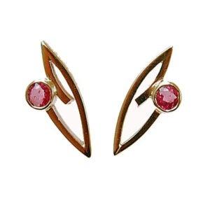 Gold and Ruby Designer Earrings