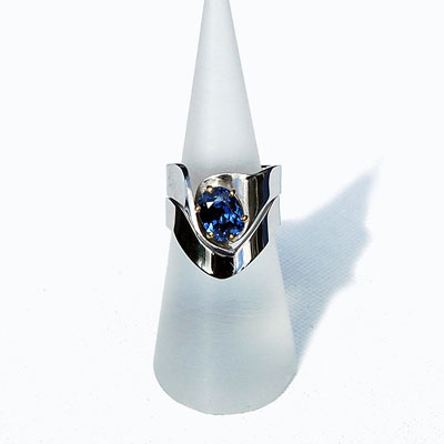 Sapphire Designer Engagement and Wedding Ring