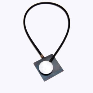 contemporary designer magnetic necklace in rubber and steel
