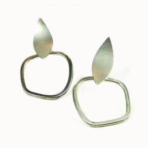 Contemporary, designer silver earrings