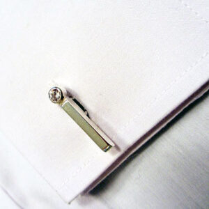 Contemporary Silver Cufflinks with CZ